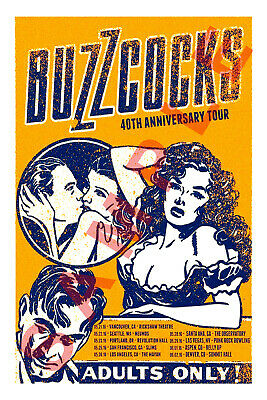 BUZZCOCKS 12x18 40TH ANNIVERSARY TOUR POSTER 2020 LIVE BAND CONCERT 1