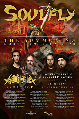 SOULFLY 12x18 THE SUMMONING NORTH AMERICA TOUR POSTER 2020 LIVE BAND CONCERT 1