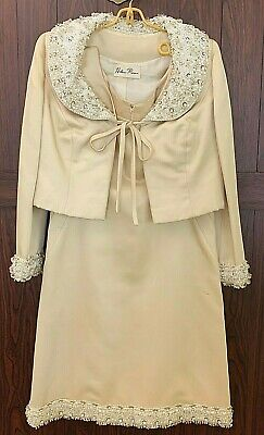 Vintage HELEN ROSE 2 Piece Formal Dress & Jacket Beaded Jeweled Cream Color Sz M