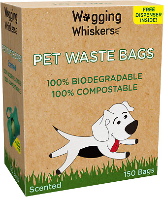 Wagging Whiskers Poop Bags for Dogs Biodegradable Waste Pet Dog & Cat Unscented
