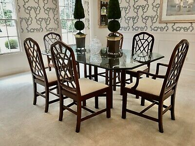 Drexel Heritage Chippendale Mahogany Dining Table + 6 Chairs w/ New Baker Fabric