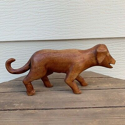 """WOODEN DOG PRIMITIVE STYLE HAND CARVED, FOLK ART- UNSIGNED 6""""H x 13""""L x 2.5""""W"""