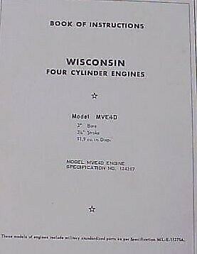 Wisconsin Gasoline Engine Mve4D 4 Cylinder Motor Manual