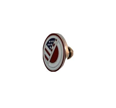 vintage American flag pin red, white, blue & silver enamel made in Tokyo 1989