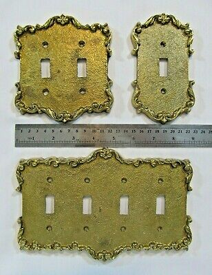 (3) Vintage Solid Brass Light Switch Plate Cover Set Ornate French Style