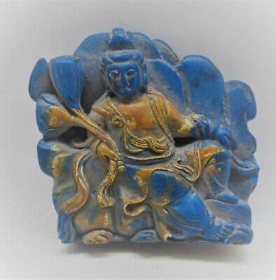 Beautiful Old Near Eastern Blue Stone Plaque Depicting Seated Buddha