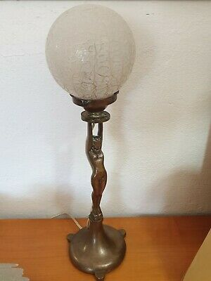 Antique Art Deco Lge Brass Nude Lady Diana Lamp Mottled Glass Shade Vnt 1930's