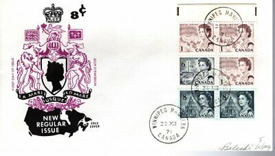 1971 #544q TAGGED Slate Centennial Definitive Booklet Pane FDC with Cole cachet