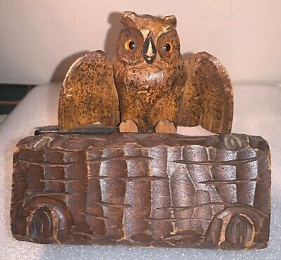 Hand-Carved Wooden Owl Perched On Hollow Log Folk Art Sculpture