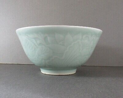 Chinese 19th Century Qing green Celadon Bowl finely carved Carp in Lotus Pond