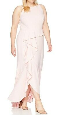 Adrianna Papell Womens Gown Pale Shell Pink Size 16 Cascade Crepe $100 218
