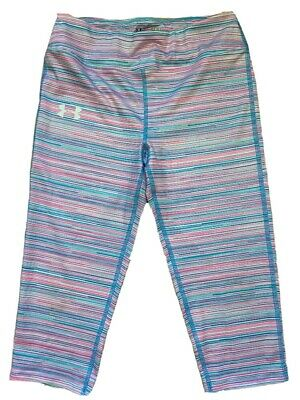 Under Armour Pants Fitted Youth Large Capri Cropped Pink Blue