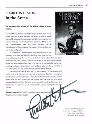 Charlton Heston Signed In The Arena Magazine Page