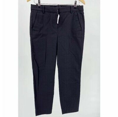 J. Crew Womens Pants 8 Black Slim Fit Crop Chino Ankle Mid Rise Stretch Solid