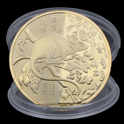 2020 Year of the Rat Challenge Coin Chinese Zodiac Gold Plated  Souvenir CoKC