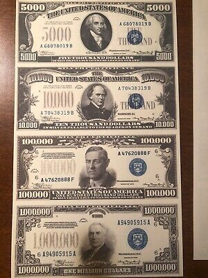 Copy Reproduction 1934 FRN Uncut US Currency Sheet 500-1000-5000-10k