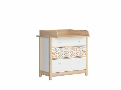 Modern Nursery Baby Kids Changing Table Chest Drawers Storage White Beech Timon