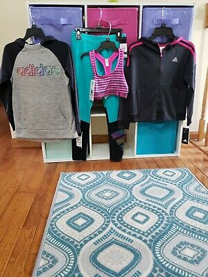Adidas girls size 7/8 Youth HOODIE's, LEGGINGS  & Under Armour sports bra NWT