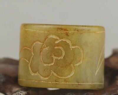 Chinese old natural jade hand-carved flower ring pendant