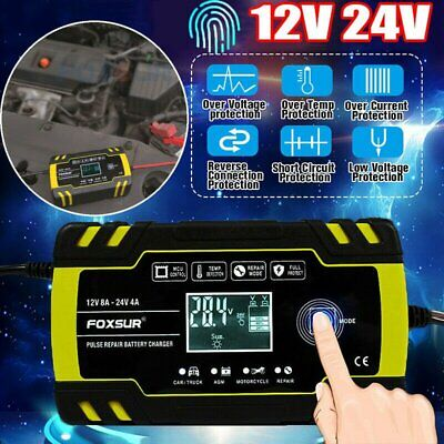 12V 24V 3-Stage Automatic Trickle Car Battery Charger Maintainer LCD Screen UK