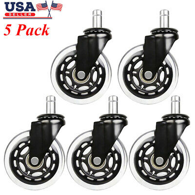 5 Pack Office Chair Caster Heavy Duty Rubber Swivel Wheel Replacement 3 inch US