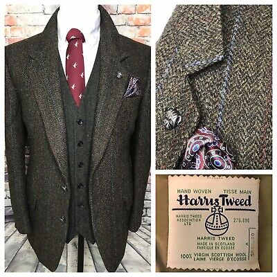 Harris Tweed Herringbone Green Rust Sport Coat Jacket Mens 42 Regular Prep Trad