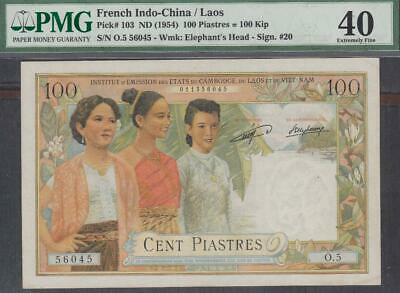 French Indochina 100 Piastres = 100 Kip Banknote P-103 ND 1954 PMG 40