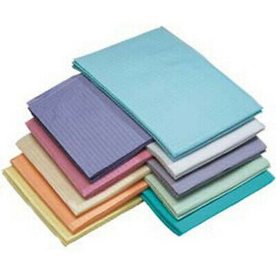 """Box of 500 Dental Medical Patient Bibs, 13"""" x 18"""" 2-Ply Paper/1-Ply Poly, New"""