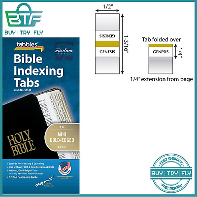 80 Mini Gold-Edged Bible Indexing Index Tabs Book Labels Old & New Testament New