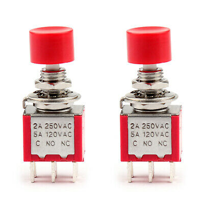 2Pc PS-202 Button Toggle Switch Round Self-Reset With Cap 6Pin 2Position 6mm T2