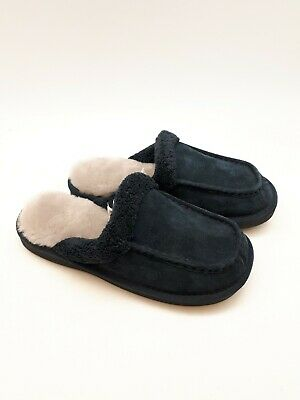 NukNuuk Men's Leather Slippers: Size 10 | Navy (NUK11)