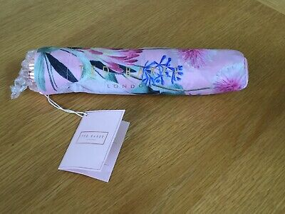 BNWT Ted Baker Pink Flourish Floral Compact Umbrella Rose Gold Handle