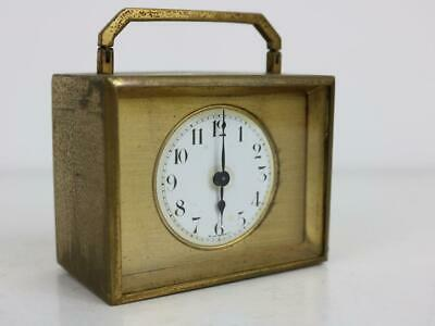 MINIATURE ANTIQUE FRENCH CARRIAGE CLOCK needs service and attention