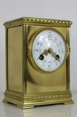 SMALL GOLDEN BRASS MANTEL or CARRIAGE CLOCK French, 8 day, gong strike, PLATFORM