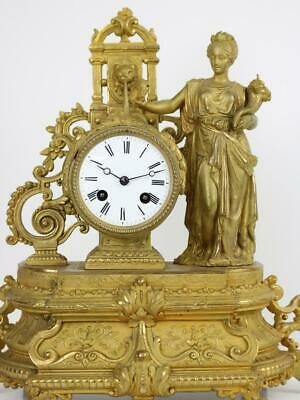 ANTIQUE FRENCH MANTEL CLOCK gilt metal figurative case S.MARTI strike attention