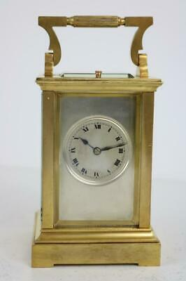 RARE HEAVY ANTIQUE FRENCH CARRIAGE CLOCK strike repeater GILT BRASS silver dial