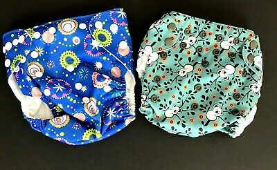 Mama Koala QTPIE Cloth Diaper Covers Girls Floral Animal Lot of 2 One Size Baby