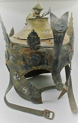 Superb Old Near Eastern Indo-Greek Military Bronze War Helmet Museum Quality