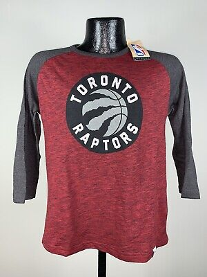 Women's Majestic Toronto Raptors Red 3/4 Sleeve Graphic Logo Tee Medium NWT