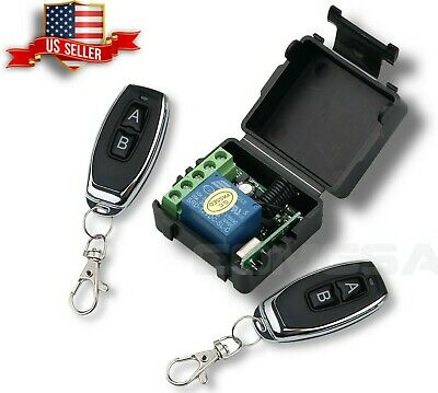 12V DC transmitter 433Mhz Wireless Switch + 2 Remote Control with Battery, USA