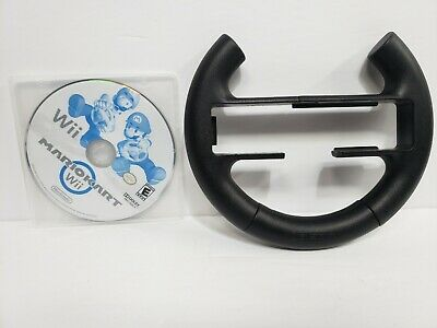 NINTENDO Wii MARIO KART VIDEO GAME With STEERING WHEEL No Manuals Tested