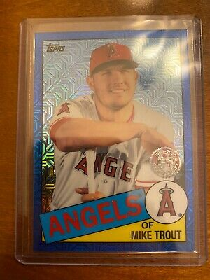 2020 Topps Series 1 Mike Trout 1985 Silver Pack Blue Refractor 128/150