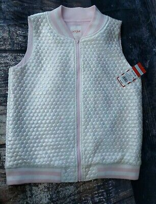 Size XL 14/16 girls pink white sleeveless vest top zip up down NWT cat & jack