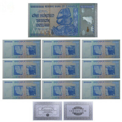 RHCN 10pcs One Hundred Trillion Dollar Zimbabwe Silver Banknotes For Collections