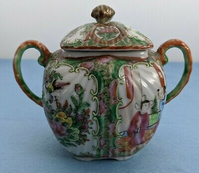 Antique Chinese Export Porcelain Covered Sugar Bowl Rose Medallion Fluted Body