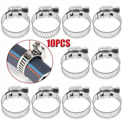 """10PCS 3/8""""-5/8"""" Stainless Steel Drive Hose Clamp Fuel Line Worm Clip HOT"""