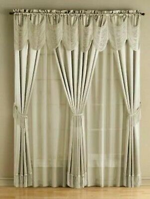 "McLeland Design 56""x 84"" 6-Pc One-Rod Drapery Sets - Ivory"