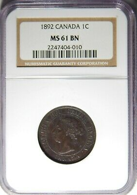 1892 Canada Large Cent NGC MS-61 BN 1c