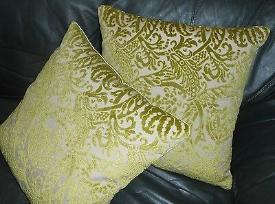 Cut Velvet fabric throw pillows floral scroll design moss green custom new PAIR