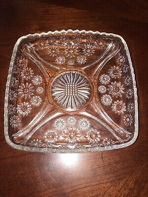 Vintage depression clear glass square candy dish – Daisy pattern scalloped 6.5""